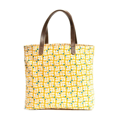 Canvas Tote - Yellow Print with Blue Berries