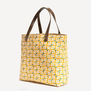 Canvas Tote - Yellow Print with Blue Berries sideview