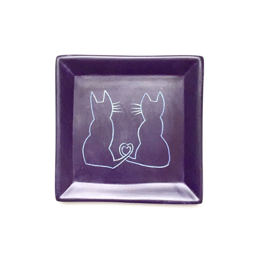Square Soapstone Dish - Cats with Heart Tails