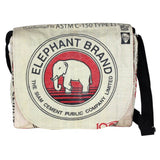 Recycled Cement Sack Messenger Bag - Elephant design