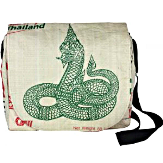 Recycled Cement Sack Messenger Bag - Serpent