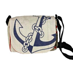 Recycled Cement Sack Small Messenger Bag - Anchor