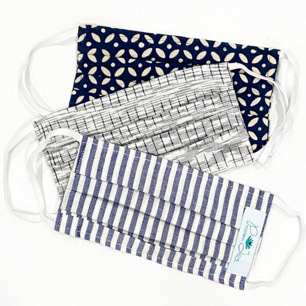 Cotton Pleated Face Mask with Elastic Straps
