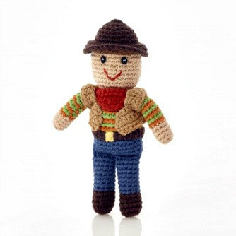 Pebble Cowboy Rattle Toy