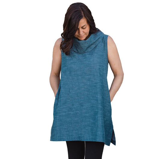 Organic Cotton Cowl Tunic - Teal Chambray