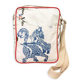 Recycled Cement Sack Crossbody Bag - Blue Dragon