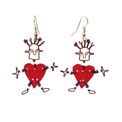 Dancing Heart Earrings Red