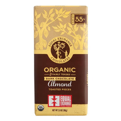 Organic Dark Chocolate with Almonds (55% Cacao) 80g Bar