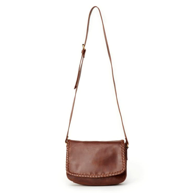 Diti Brown Full Grain Leather Crossbody Bag-full strap
