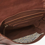 Diti Brown Full Grain Leather Crossbody Bag - inside view