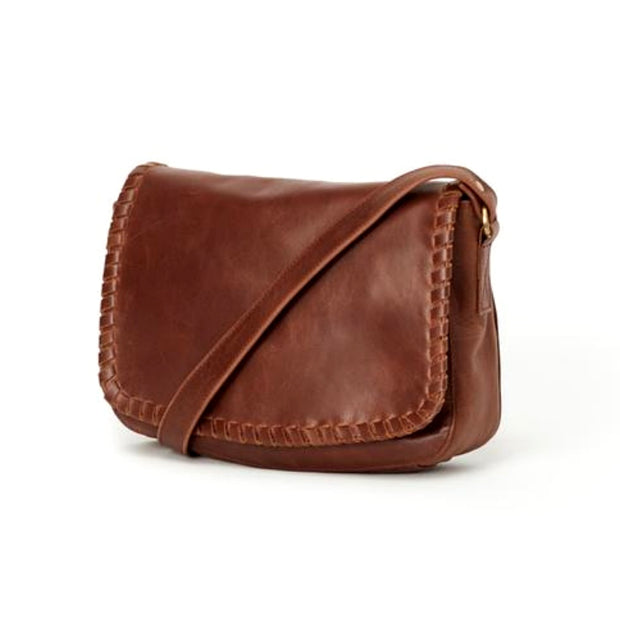 Diti Brown Full Grain Leather Crossbody Bag - side view
