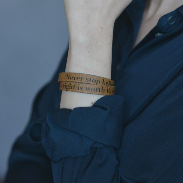 Double Wrap Recycled Leather Bracelet - Fight For What's Right lifestyle