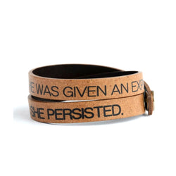 Double Wrap Recycled Leather Bracelet - She Persisted