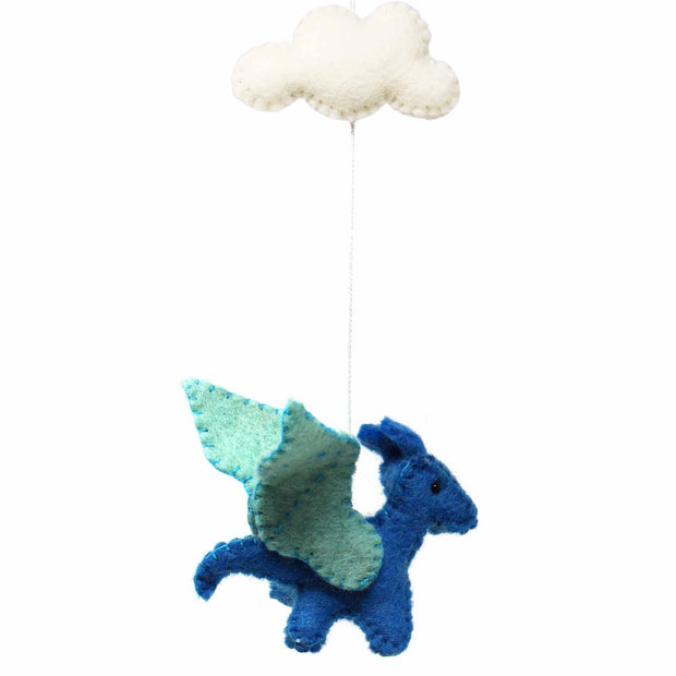 Dragons and Clouds Handmade Felt Baby Mobile detail