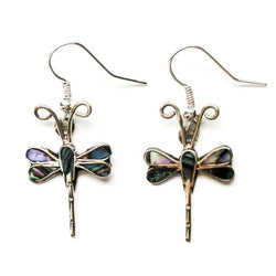 Handmade and fair trade dragonfly earings made with alpaca silver and abalone