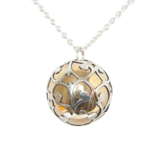 Balinese Sterling Silver and Brass Dream Ball Pendant Necklace