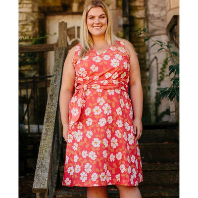 Ana Wrap Dress Cherry Floral Plus Size