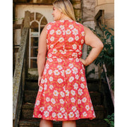 Ana Wrap Dress Cherry Floral Plus Size backview
