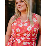 Ana Wrap Dress Cherry Floral Plus Size detail