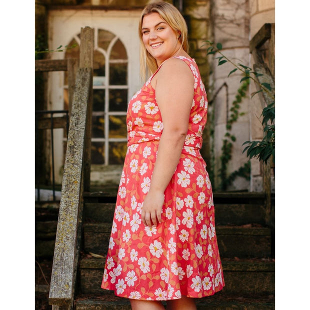 Ana Wrap Dress Cherry Floral Plus Size sideview