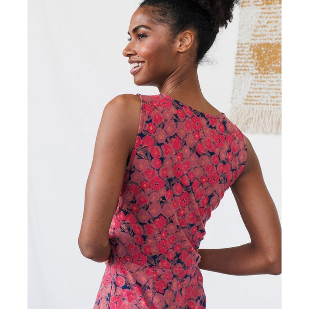 Delia Wrap Dress Rose Floral backview