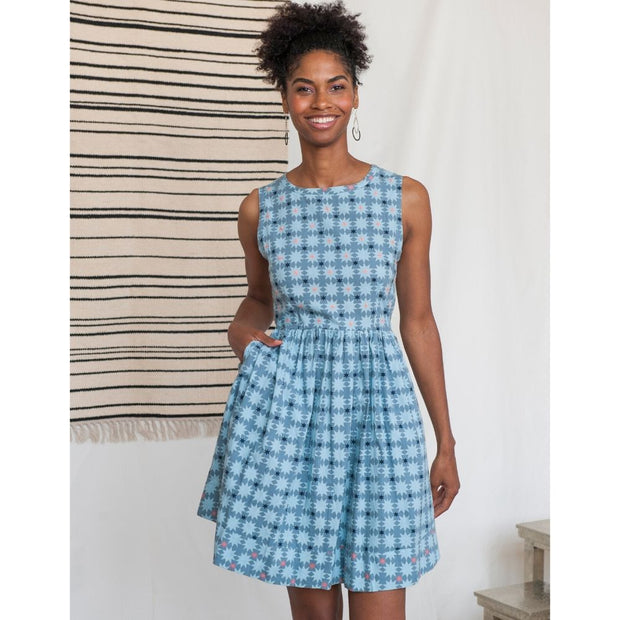 Tic Tac Toe Dress Blue Quilt