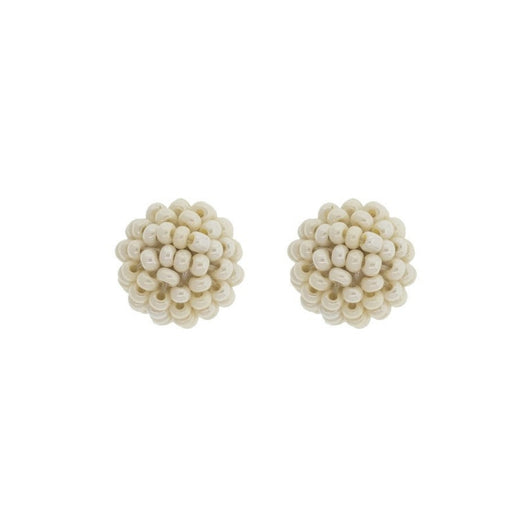 Globe Beaded Post Earrings - Cream