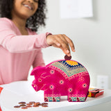 Embossed Leather Piggy Bank for kids