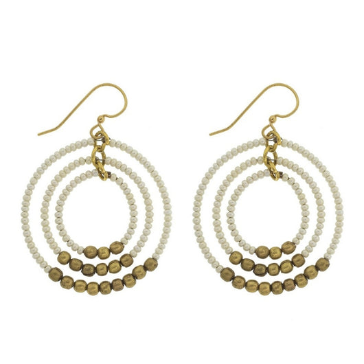 Brass Gyroscope Hoop Earrings - Cream