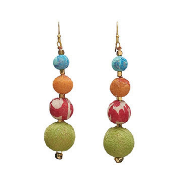 Graduated Repurposed Kantha Bead Earrings