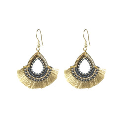 ER-1050 Golden Fan Teardrop Earrings
