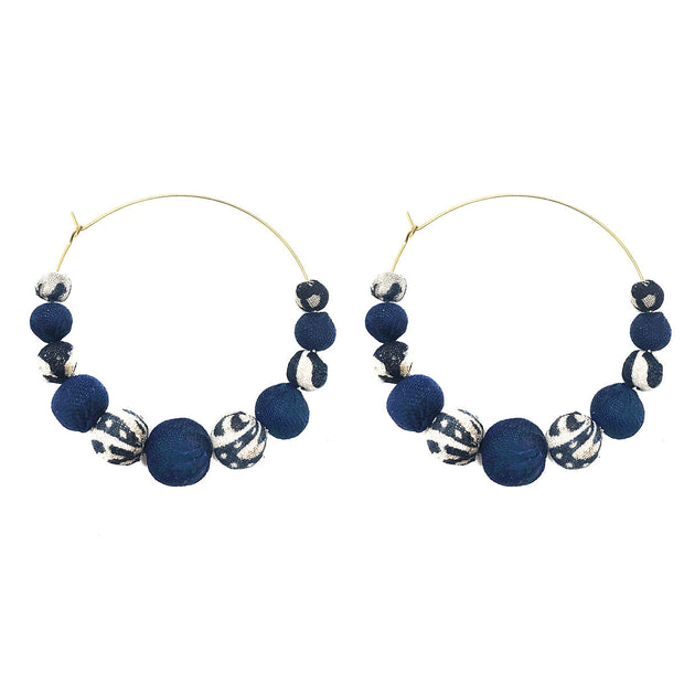 Kantha Indigo Graduated Hoop Earrings