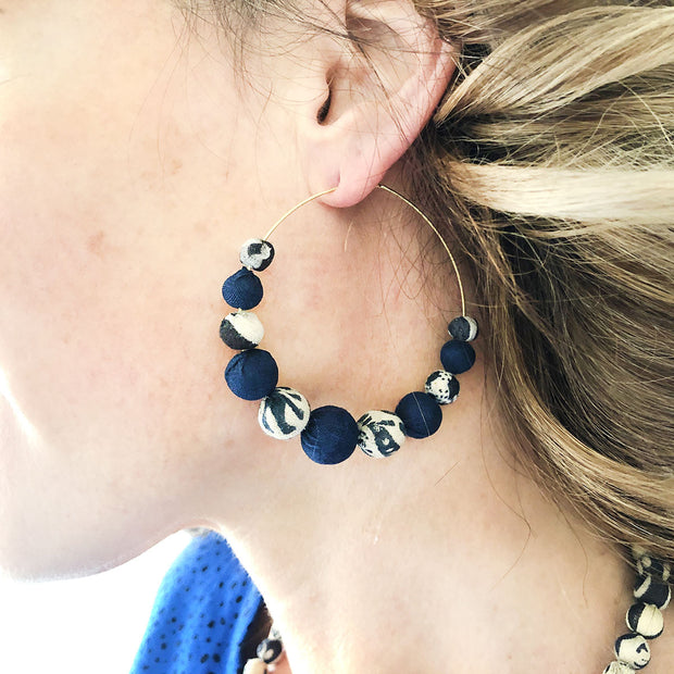 Kantha Indigo Graduated Hoop Earrings model