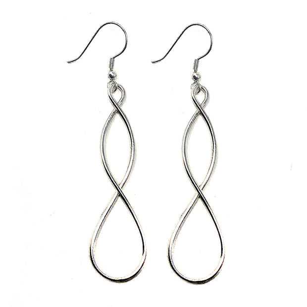 Silver tone Double Helix Earrings