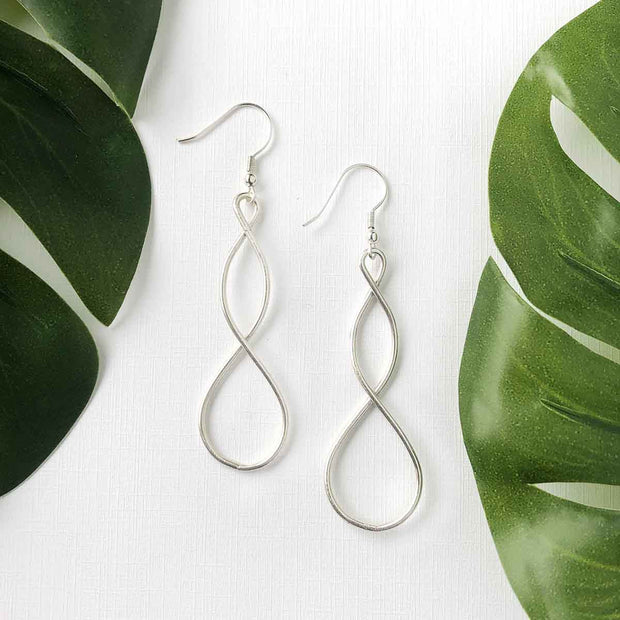 Silver tone Double Helix Earrings lifestyle