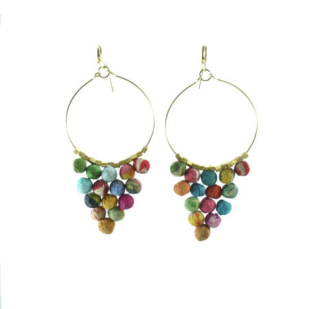 Kantha Bead Pyramid Hoop Earrings