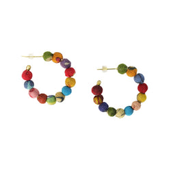 Kantha Mini Hoop Earrings