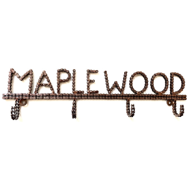 EXCLUSIVE Recycled Bike Chain Maplewood Wall Hooks