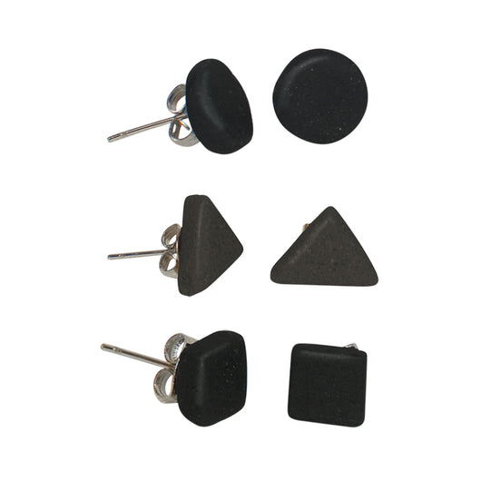 Set of 3 Black Recycled Glass Elements Stud Earrings