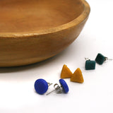 Set of 3 Recycled Glass Elements Stud Earrings - assorted colors