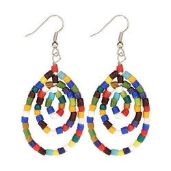 Sankofa Beaded Rainbow Multiple Hoops Earrings