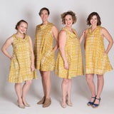 Fair Trade Batik Eli Dress-Monsoon Mustard by Global Mamas MULTI SIZE