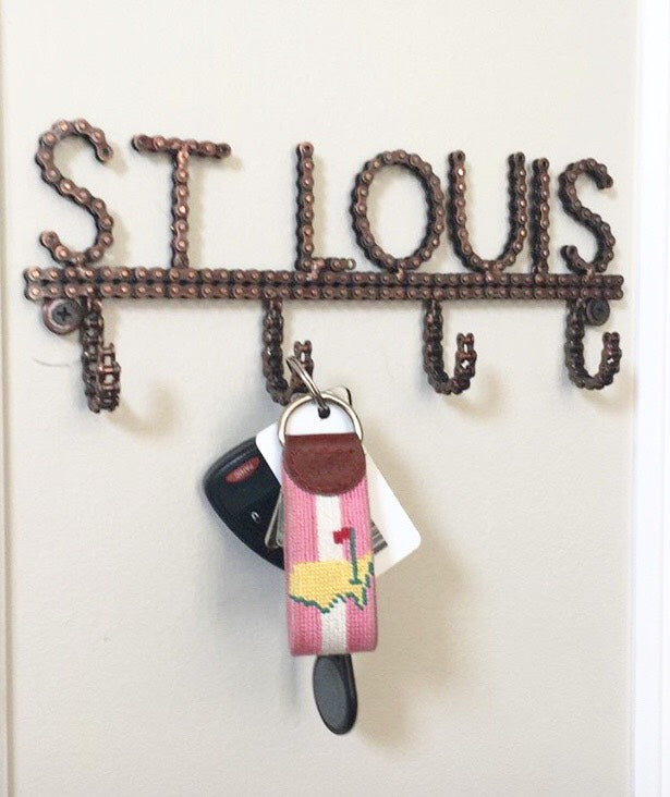 EXCLUSIVE St Louis Recycled Bike Chain Wall Hanger with Hooks