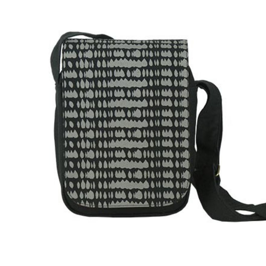 Screen Print Small Messenger Bag - Black Raindrop front