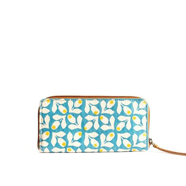 Fabric Wallet - Blue Print with Yellow Berries