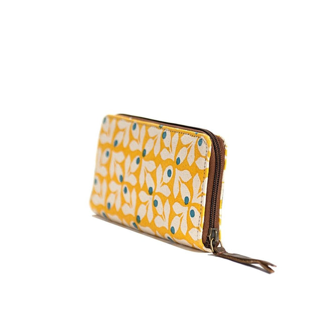 Fabric Wallet - Yellow Print with Blue Berries sideview