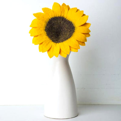 Handmade and Fair Trade Felt Flower Stem - Sunflower