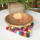 Handmade and Fair Trade Rainbow Felt Ball Square Trivet