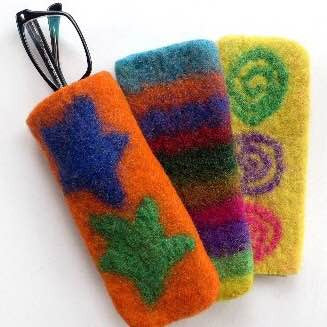 Colorful Felted Wool Eyeglass Case in assorted colors and designs