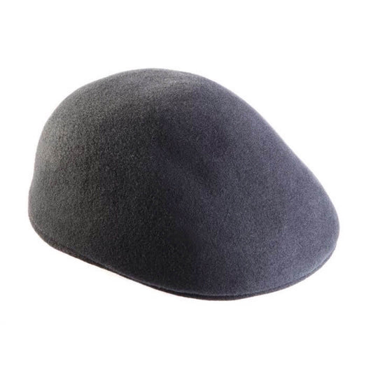 Charcoal Grey Felted Wool Flat Cap